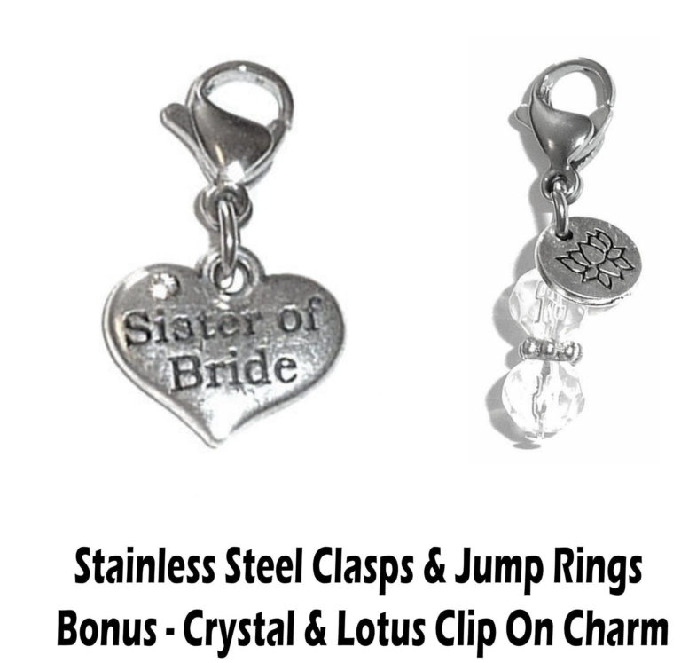 sister ofthe bride clip on charm - wedding party charms
