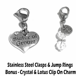 sister of the groom clip on charm - wedding party charms