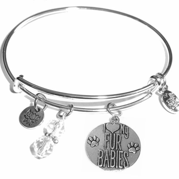i love my fur babies message bangle bracelets
