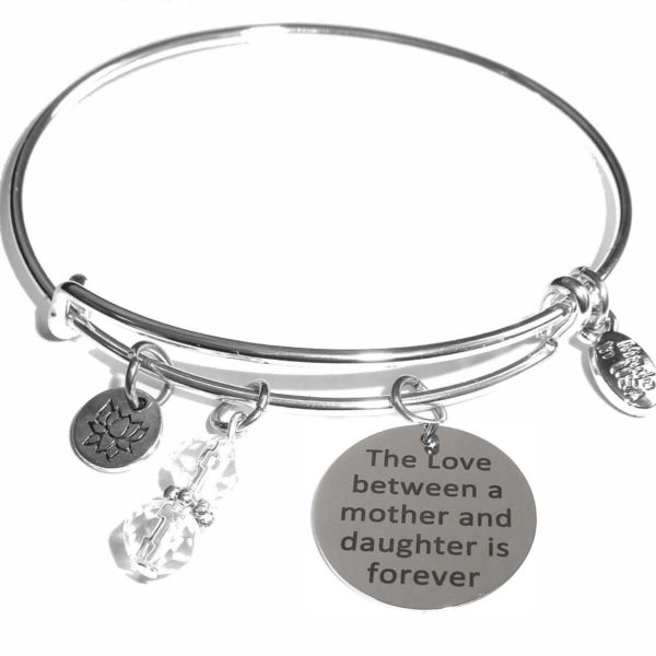 love between a mother & daughter message bangle bracelet