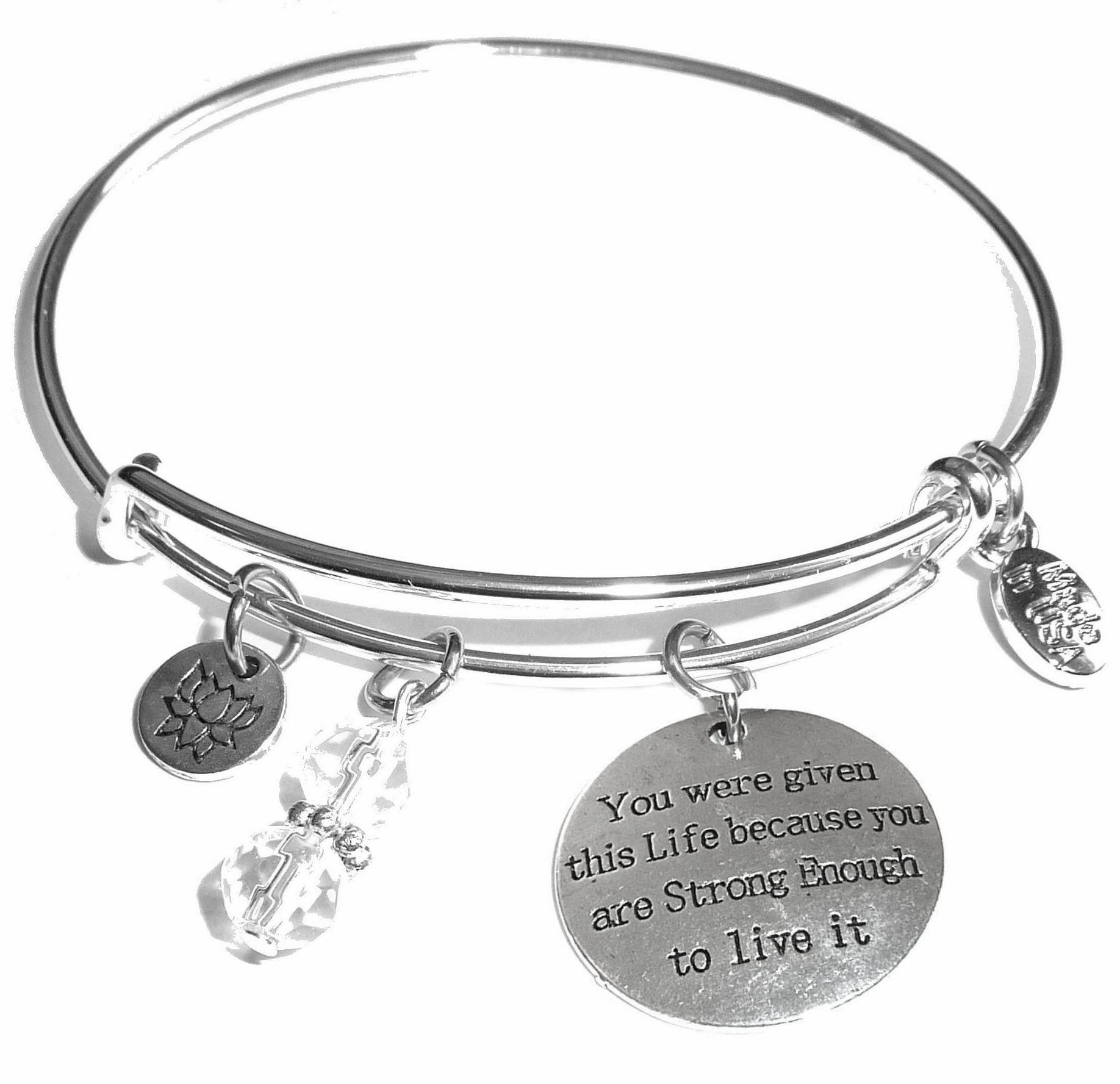 You Were Given This Life Message Bangle Bracelet Hidden Hollow Beads