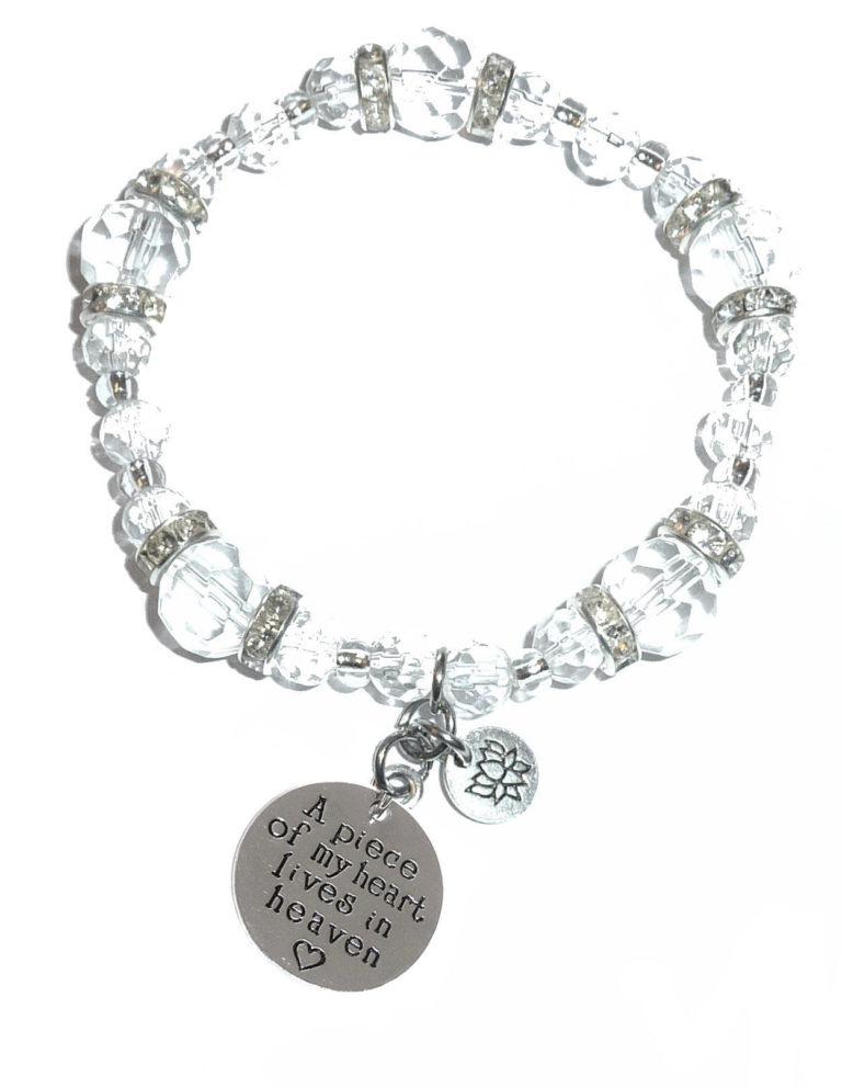 a piece of my heart crystal charm bracelet