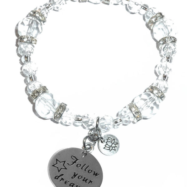 follow your dreams crystal stretch bracelet