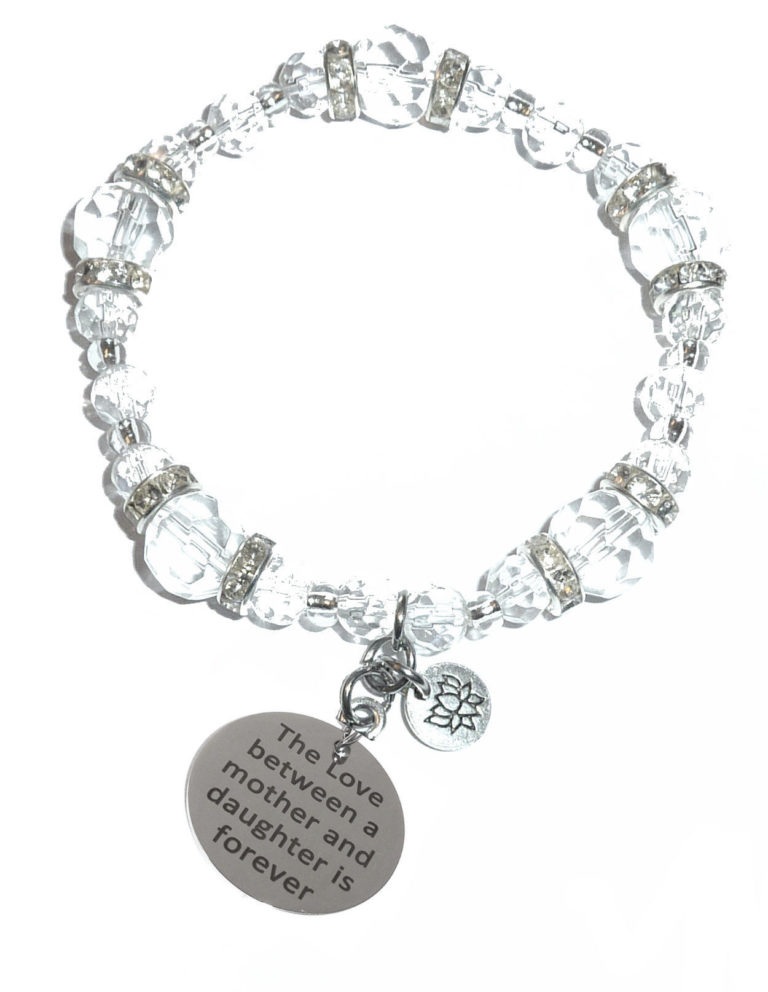 love between a mother and daughter crystal stretch bracelet