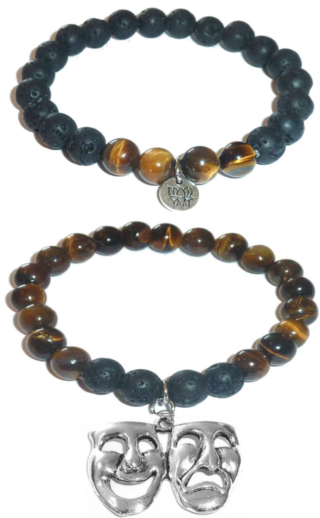 tiger eye bracelet comedy & tragedy charm