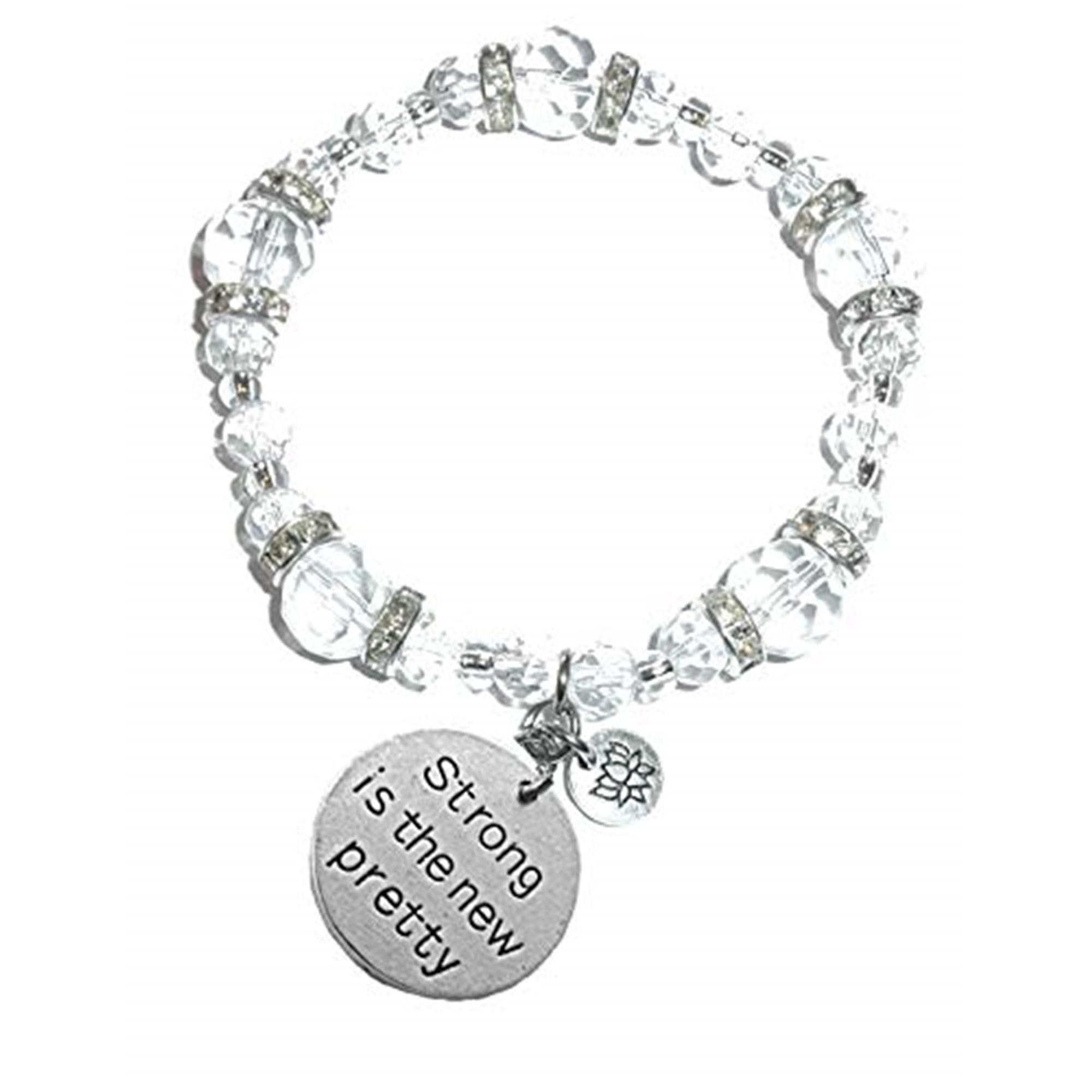 Strong Is The New Pretty Crystal Charm Bracelet Stretch