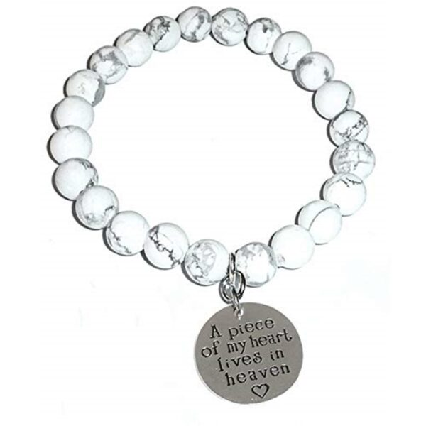 Healing Howlite Bracelet - A Piece Of My heart Lives in Heaven Charm Bracelet