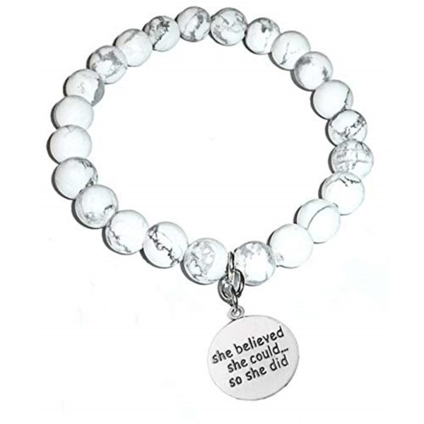Empowering Howlite Bracelet - She Believed She Could So She Did
