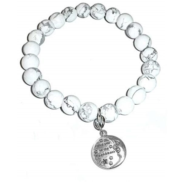 love you to the moon howlite bracelet