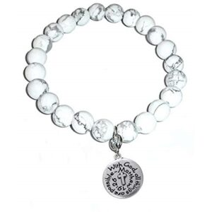 Peaceful Howlite Bracelet - With God All Things Are Possible