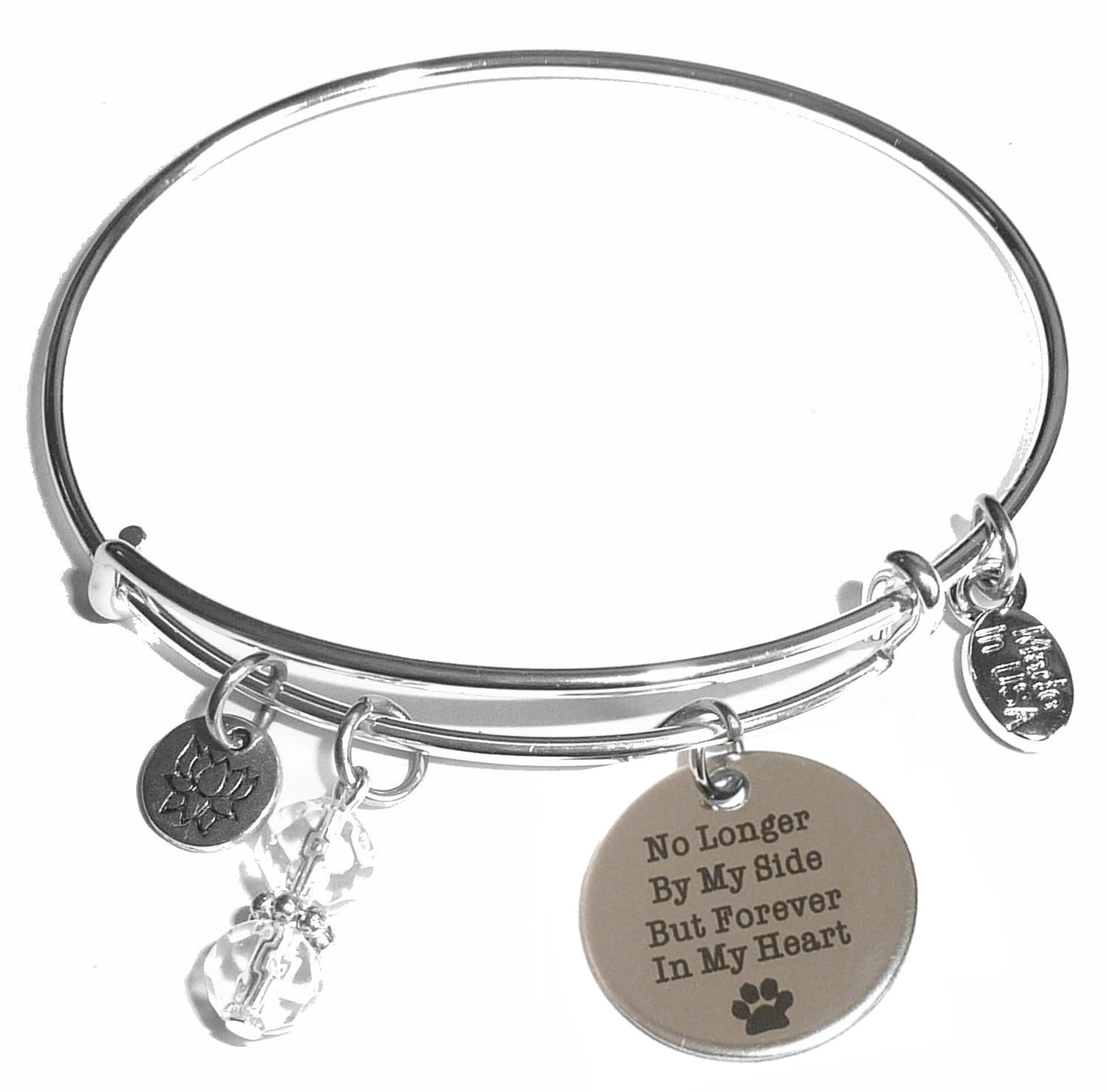No Longer By My Side But Forever In Heart Message Bangle Bracelet Expandable Wire Comes A Gift Box